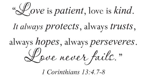 Wall Sticker Quote Vinyl Decal Love is Patient Kind Corinthians Bible -