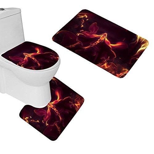 Wondertify Fire Flame Sword Old Man Magician 3 Piece Bathroom Mats Set Non-Slip Bathroom Rugs Contour Mat Toilet Cover Bath Mat Set - Sword Magician