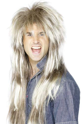 Smiffys Men's 80's Blonde and Brown Mullet Wig, One Size, 5020570420300