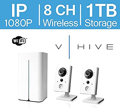 LaView V-Hive 1080P HD Wireless IP 8 Channel Surveillance System with Pre-Installed 1TB HDD and Two Wifi Indoor 1080P IP Security Cameras, LV-KNW9382TF2-T1