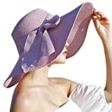 FEDULK Womens Big Bowknot Brim Straw Wide New Hat Floppy Roll up Beach Cap Sun Hat Folding Beach Cap(D, One Size)