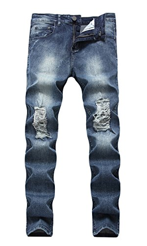 (CLOTPUS Men's Slim Fit Ripped Stretch Jeans Destroyed Skinny Pants with Holes Denim Blue W28)
