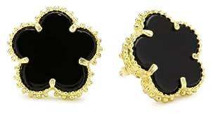 Jardin Pierced Large 5 Clover Black Earrings