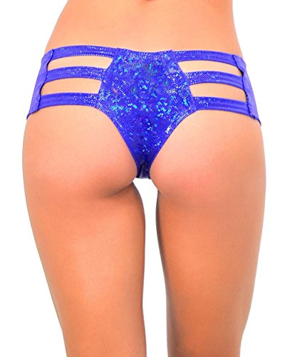[iHeartRaves Hologram Micro Cut Out Rave Booty Shorts (Medium/Large, Blue)] (90s Theme Party Outfits)