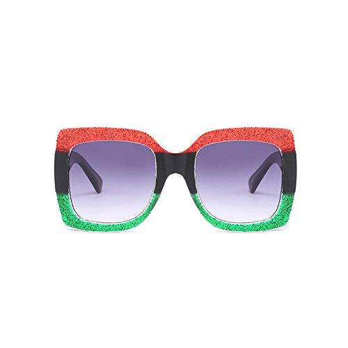 gris mujer gafas bastidor Rojo ZHANGYUSEN Vintage para Retro sol gris grande Square sol de mujeres señoras degradado de Rojo Verde verde UV400 verde gafas de amarillo xtt4gqY7w