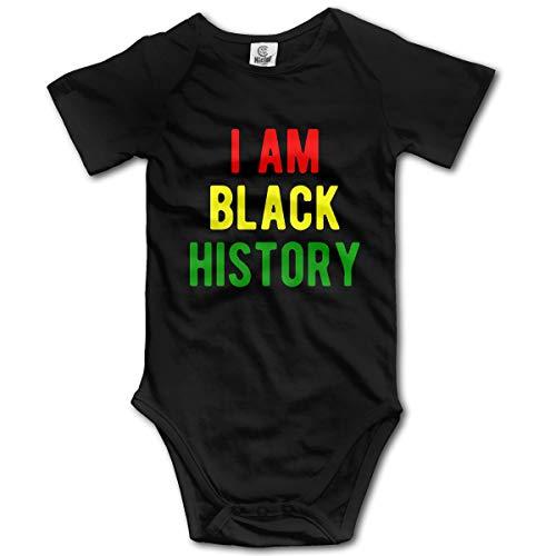 Short Sleeve Cotton Bodysuit for Unisex Baby, Fashion I Am Black History Crawler ()