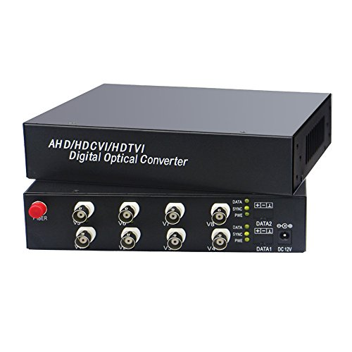 Guantai 8 Channels 1080P CVI TVI AHD Video Over Fiber Optical Media Converters Transmitter and Receiver FC Single Fiber 10Km ()