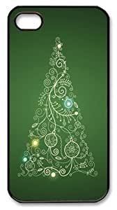 Christmas Tree Custom iPhone 4s/4 Case Cover Polycarbonate Black Thanksgiving Day gift