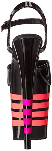 Pleaser Women's Flamingo-809uvln Flatform Sandals, Multi-Color Black (Blk Pat/Blk-uvln)
