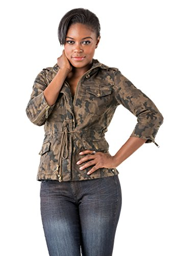 Poetic Justice Women's Curvy Fit Camo Stretch Denim Detachable Hood Utility Jacket Size (Camo Utility Jacket)
