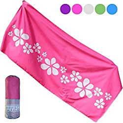 Tuvizo Quick Dry Towel Microfiber for Beach Camping Travel Swimming Gym Camp Sport Best Travel Gifts for Women Girls. No Sand Large Pink Beach Towels. Best Travel & Cruise Ship Accessories