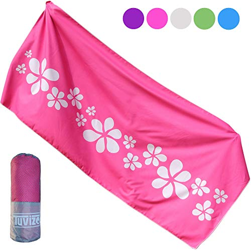 Tuvizo Microfiber Beach & Travel Towel with Split Microfiber Technology - Quick Dry & Sand Proof for Pool, Swimming, Gym, Camping or Gift - XL with Free Carry Bag