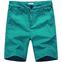 BASADINA Boys' Short - Summer Flat Front Chino Cotton Short Fitted with Adjustable Waist 3-13 Years Old