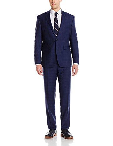 Vince Camuto Men's Two Button Slim Fit Glen Plaid Suit, Navy, 42 (Navy Plaid Suit)