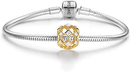 純銀 ゴールド 透かしデザイン ジルコニア & シルバー 925 ビーズ チャーム ファッション アクセサリー レディース