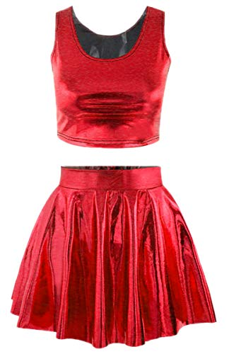 Jescakoo Juniors Faux PU Leather Crop Top Pleated Skater Skirt 2 Piece Set Red