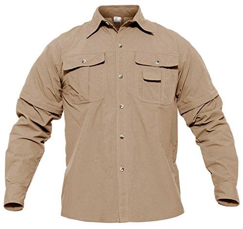 CRYSULLY Men's Convertible Sports Shirts Breathable Quick Dry Solid Lightweight Long Sleeve Hunting Safari Shirt Khaki