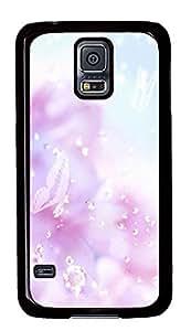 Samsung Galaxy S5 Pink Flowers Background Design PC Custom Samsung Galaxy S5 Case Cover Black