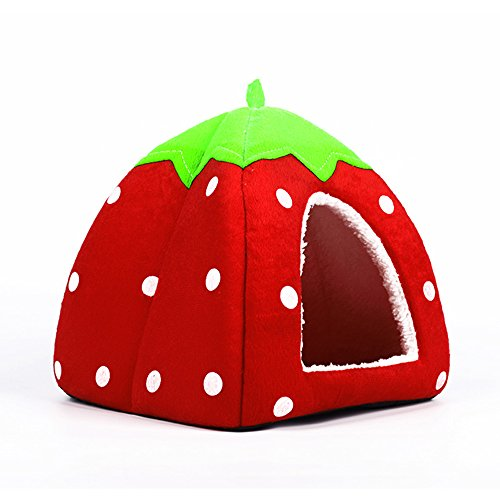 Spring Fever Strawberry Guinea Pigs Fleece House Rabbit Cat Pet Small Animal Bed Red M (14.214.20.8 inch)