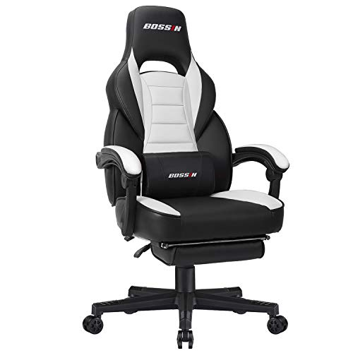 BOSSIN Racing Style Gaming Chair Office Computer Desk Chair with Footrest and Headrest, Ergonomic Design, Large Size High-Back E-Sports Chair, PU Leather Swivel Chair (White-2)