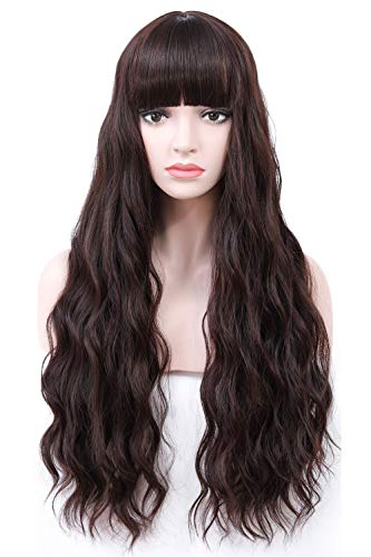 COSYCODE 26 inches Dark Brown Wavy Wig with Bangs Long Synthetic Wigs Daily Wear