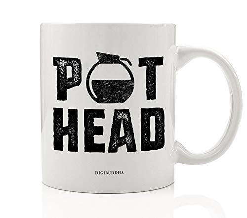 Caffe Latte Mug - POT HEAD Funny Coffee Mug Gift Idea for Morning Cup of Joe Coffee Addict Cappuccino Latte Caffè Mocha Birthday Christmas Present for Family Friend Coworker 11oz Ceramic Tea Cup by Digibuddha DM0520
