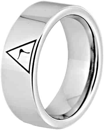 Thorsten Addison Celtic Knot Design Print Pattern Ring Flat Tungsten Ring 8mm Wide Wedding Band from Roy Rose Jewelry
