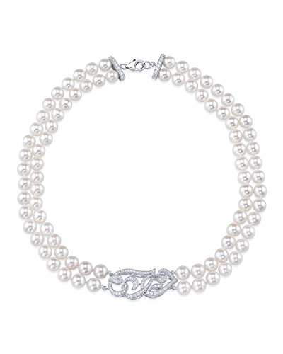 White Freshwater Cultured Pearl & Cubic Zirconia Accent Violet Necklace - 17-18'' Length by The Pearl Source (Image #7)