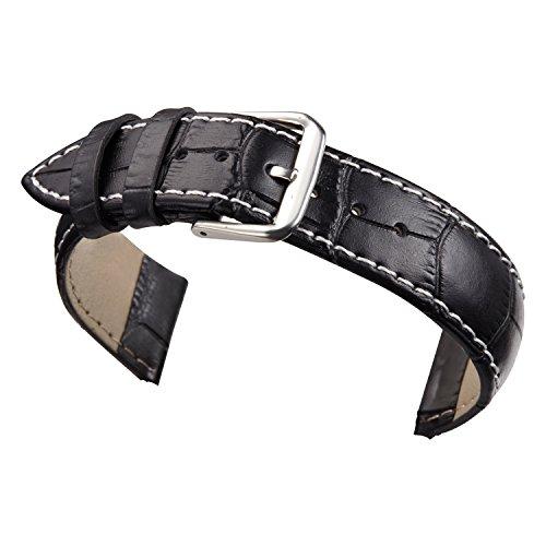 Black Calfskin Belt Strap (24mm Men's Black Watch Bands Straps Real Matt Leather Alligator Grained Standard Length with White)