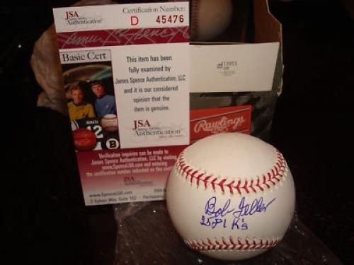Autographed Bob Feller Baseball - OMLB 2581 K-s Go - JSA Certified - Autographed Baseballs
