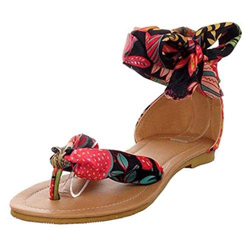 c3de5f3b FANIMILA Mujer Moda Flip Flop Cordones Sandalias Chicas Planos Nature  Breeze Zapatos Negro