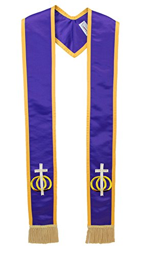 Deluxe Purple Satin Clergy Stole with Embroidered Wedding Rings Unity Cross by The Sash Company