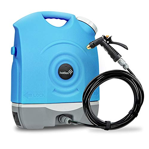 Ivation Multipurpose Portable Spray Washer w/Water Tank - Built in Rechargeable 2200 mAh Lithium Battery and 12v Car Plug - Metal Trigger Guns, Shower & Brush Heads and Flexible Hose