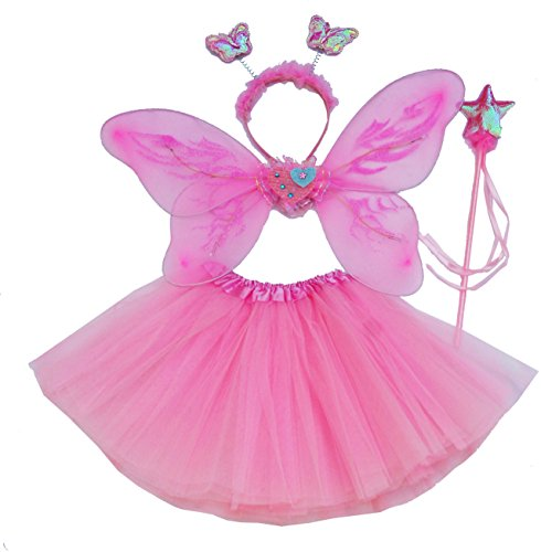 [Fun Play Butterfly Wings Magic Wand And Headband Fairy Costume Set Pink One Size] (Wood Fairy Costumes)