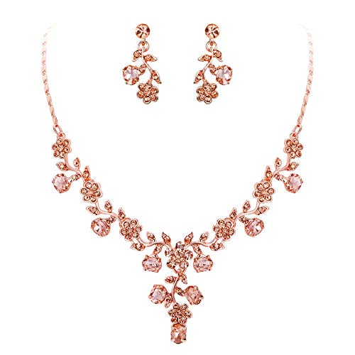 (EVER FAITH Rhinestone Crystal Bridal Banquet Flower Leaf Necklace Earrings Set Champagne Rose Gold-Tone)