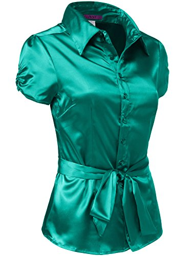 5e866140a0bf76 J. LOVNY Womens Light Weight Long Cuff Sleeve Button Down Satin Shirt S-3XL  - Buy Online in UAE.