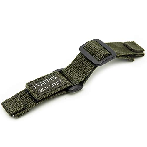 IVAPPON Hook Loop NATO Adjustable Nylon Watch Strap Swiss-Army Style Fastening Watchband(22mm,Olive) (Swiss Army Watch Band Loop)