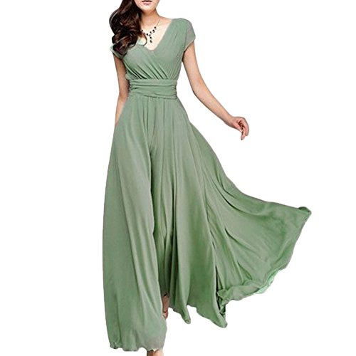 Women Vintage Deep V Neck Chiffon Long Bridesmaid Dress Wedding Pageant Party Prom Formal Cocktail Evening Gown Maxi Dress Turquoise Medium ()