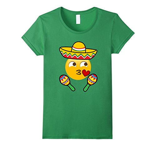 [Women's Emoji Kiss Cinco de Mayo Shirt Girls Women Sombrero Hat Large Grass] (Cute Female Nerd Costumes)