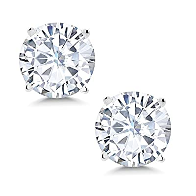 Charles & Colvard 7mm VG Moissanite 2.50 cttw 14k White Gold Friction Back Round 4 Prong Stud Earrings (2.25 cttw Moissanite, White Color, SI2-100% Eye Clean)