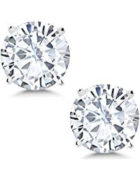 Charles & Colvard 6mm 1.60ct DEW White Created Moissanite 14K White Gold Friction Back Round 4 Prong Stud Earrings