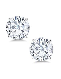 Charles & Colvard 6mm VG Moissanite 1.50 cttw 14k White Gold Friction Back Round 4 Prong Stud Earrings (1.36 cttw Moissanite, White Color, SI2-100% Eye Clean)