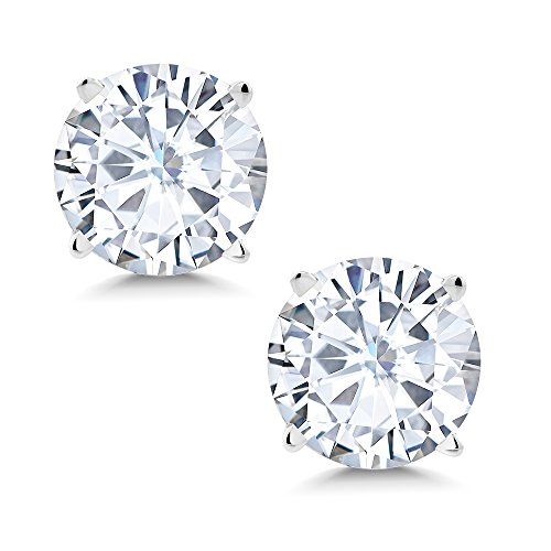 Gem Stone King Timeless Brilliant 8mm 3.80ct DEW White Created Moissanite 14k White Gold Round Stud ()