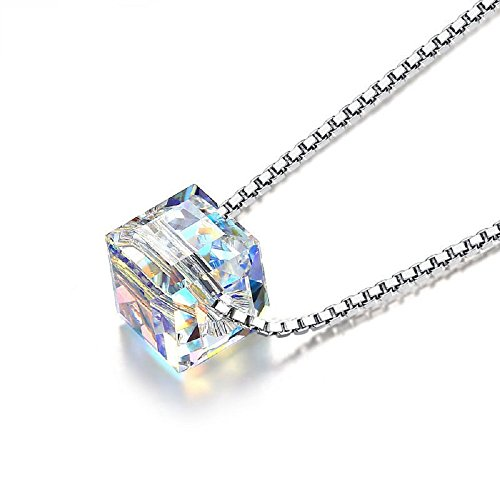 Aigemi 925 Sterling Silver Crystal Pendant Necklace Fashion Jewelry Necklace for Women Gifts for Women (Cube)