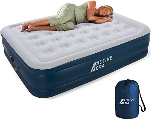 Active Era Air Mattress with Built in Electric Pump Raised Pillow Puncture Resistant with Waterproof Flocked Top, Elevated Inflatable Air Bed for Guests