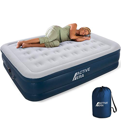 Active Era Premium Queen Size Air Mattress - Elevated Inflatable Air Bed, Electric Built-in Pump, Raised Pillow & Structured Air-Coil Technology