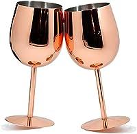 Pack de 2 copas de vino de acero inoxidable de cobre