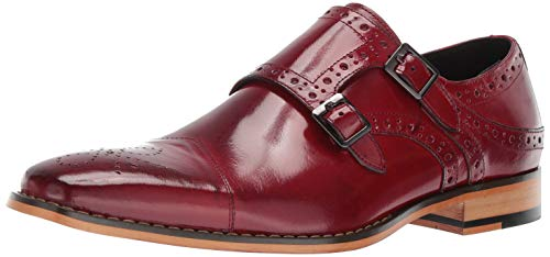 (STACY ADAMS Men's Tayton Cap Toe Double Monk Strap Loafer, red, 12 M US)