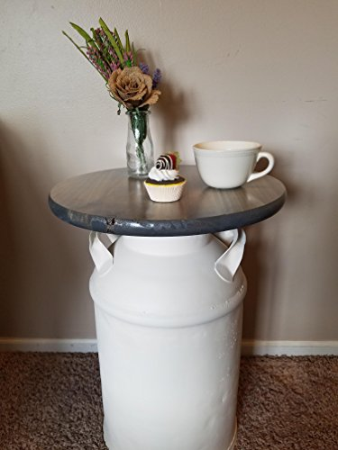Vintage Milk Can End Table, White
