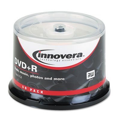 DVD+R Discs, 4.7GB, 16x, Spindle, Silver, 50/Pack, Sold as 2 Package by Innovera